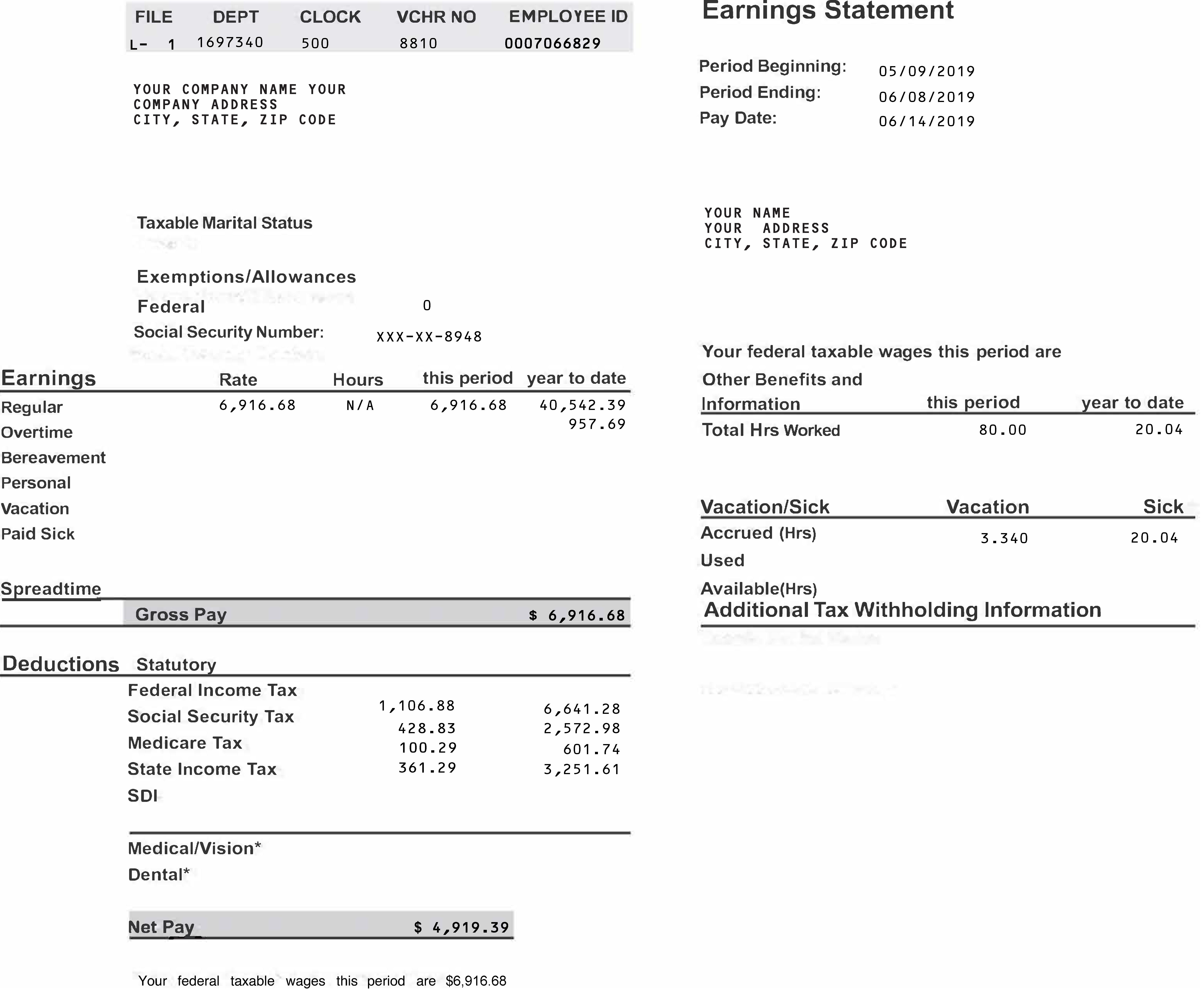 Paycheck Stubs Online Small Business Pay Stub Speedy Stub